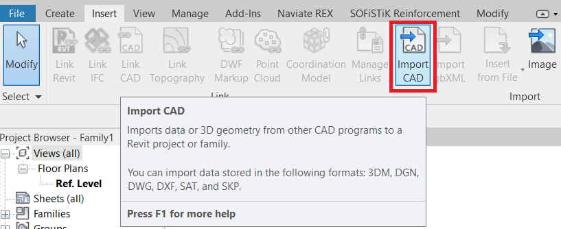 Impoert Cad file into Revit